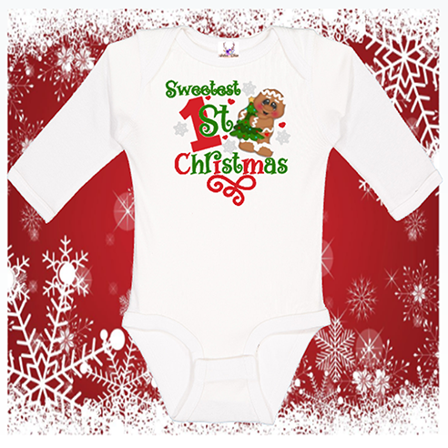 Sweetest 1st Christmas Lonsleeve Onesie