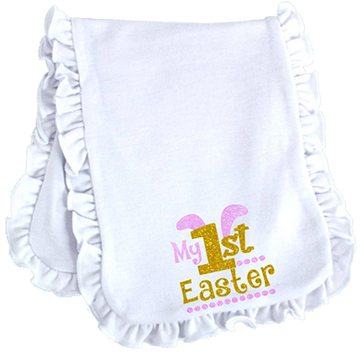 1st Easter Glitter Girl Ruffled or Scalloped Edge Burp Cloth