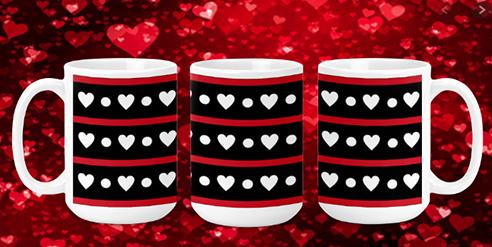 Hearts In A Row 15oz Valentine Mug