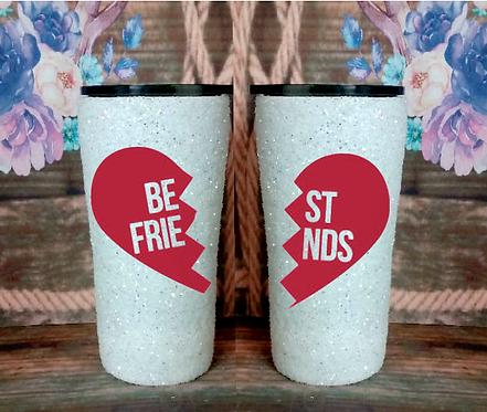 20 oz White Glitter 'Best Friends' Custom Travel Mug