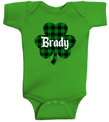 Plaid Clover w Name Boy Infant Onesie