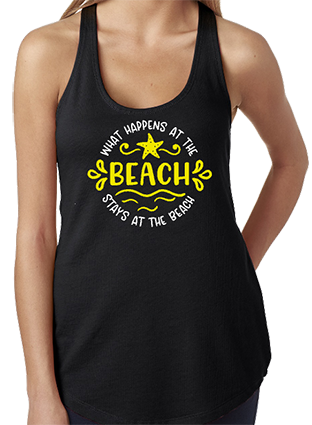 What Happens At The Beach Racerback Tank Top