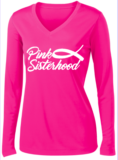 Ladies Cancer Awareness Posicharge Longsleeve Tee