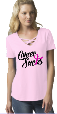 Ladies Cancer Awareness Caged Front Top
