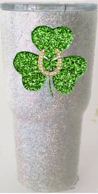 30 oz Green Glitter Clover
