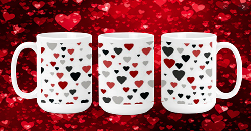Red Black Grey Hearts 15oz Valentine Mug