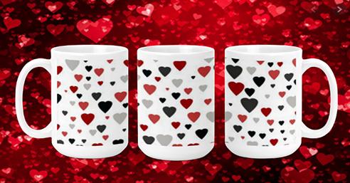 Red Black Grey Hearts 15oz Valentine Mug