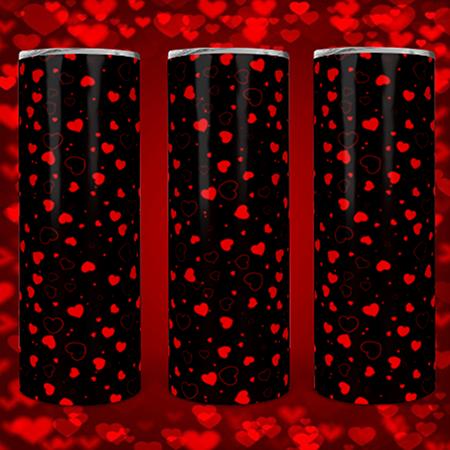 Black w/Red hearts 20 or 30oz Skinny Custom Tumbler