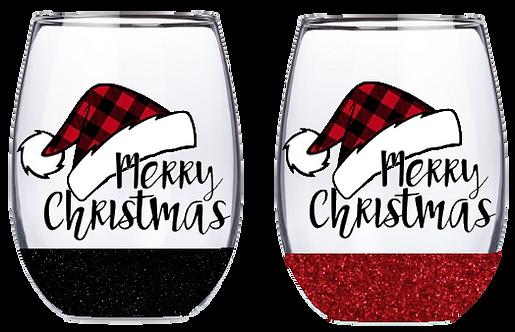 21oz Stemless Buffalo Plaid Stocking Hat Wine Glass