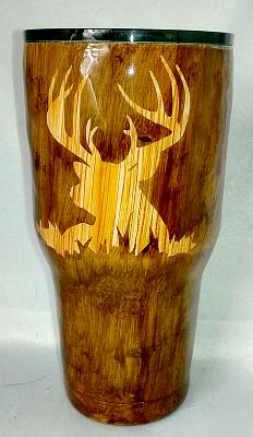 Deer Head Woodgrain Custom 30 oz Tumbler