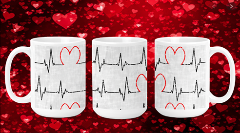 Heart EKG 15oz Valenting Mug