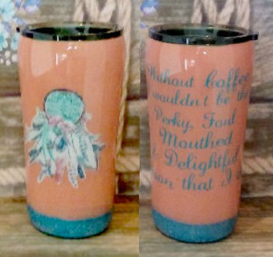Peach/Aqua Dream Catcher Travel Mug