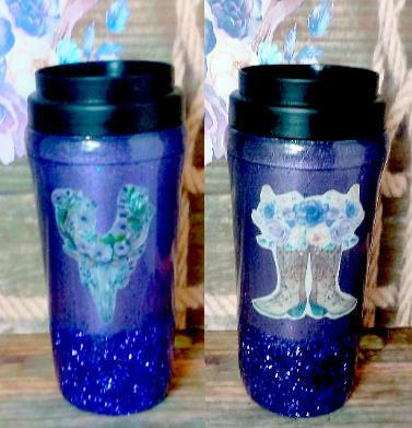Purple Glitter Tribal Skull and Boots Travel Mug