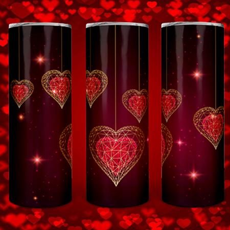 Red & Gold Hearts 20 or 30oz Skinny Custom Tumbler