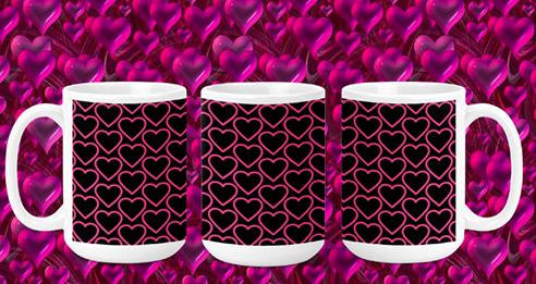 Pink Hearts on Black II 15oz Valentine Mug