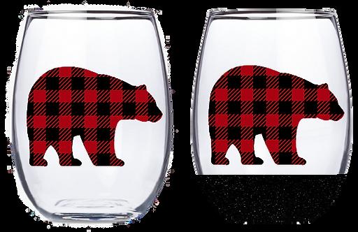 21oz Stemless Buffalo Plaid Bear Wine Glass