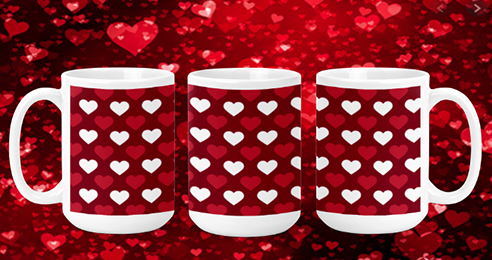 Red & White Hearts 15oz Valentine Mug