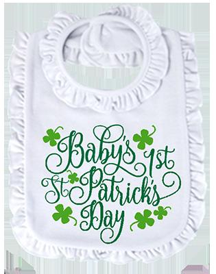 Baby's First St Patricks Day Ruffled Bib