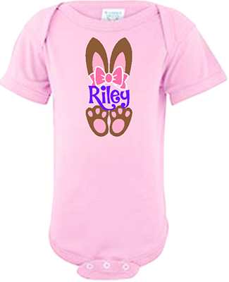 Bunny Ears with Name Infant Girls Onesie