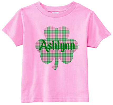 Plaid Clover w Name Girl Infant/Toddler Tee