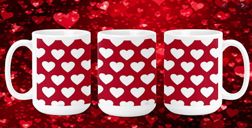 White Hearts on Red II 15oz Valentine Mug