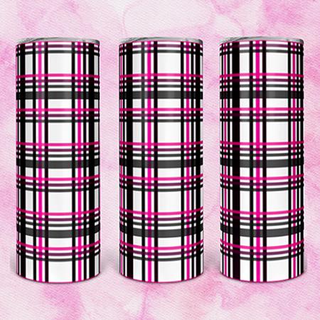 Pink & Black Plaid 20 or 30oz Skinny Custom Tumbler
