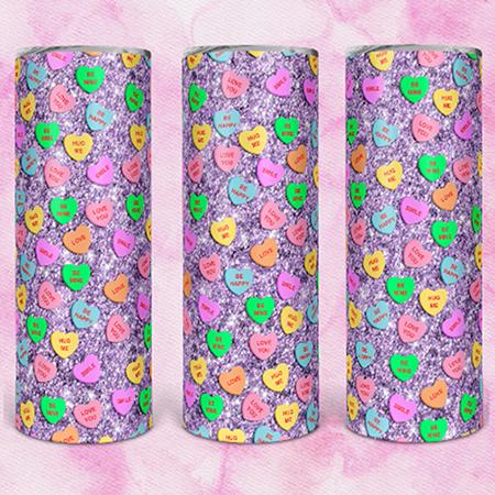 Lavendar Candy Hearts 20 or 30oz Skinny Custom Tumbler
