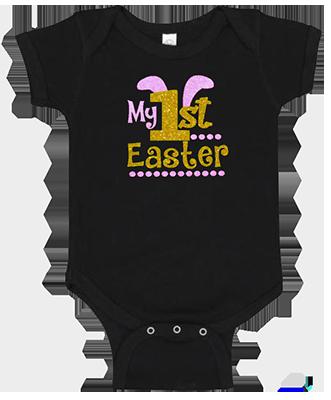 1st Easter Glitter Girl Onesie