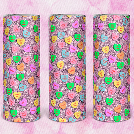 Pink Candy Hearts 20 or 30oz Skinny Tumbler