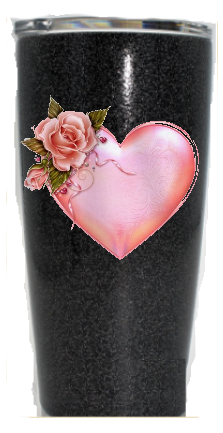 20 oz. Black Glitter Heart w Rose Custom Travel Mug