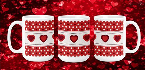 Hearts Row 15oz Valentine Mug