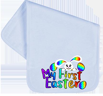 1st Easter Rainbow Bunny Burp Cloth