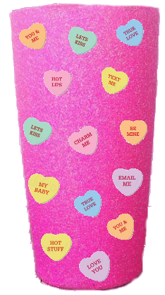 20 oz. Bubblegum Glitter Candy Hearts Custom Travel Mug