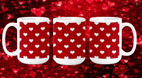 Hearts on Red III 15oz Valentine Mug