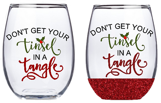 21oz Stemless Tinsel in a Tangle Wine Glass