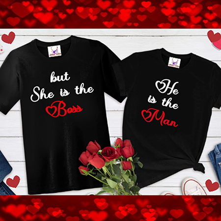 He's The Man She's The Boss Tees
