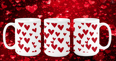All Hearts on white 15oz Valentine Mug