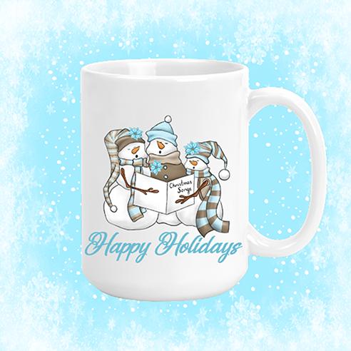 Happy Holidays Snowmen Mug