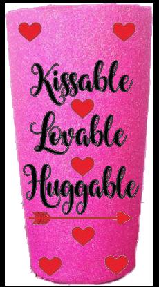 20 oz. Bubblegum Glitter Kissable Lovable Huggable Custom Travel Mug