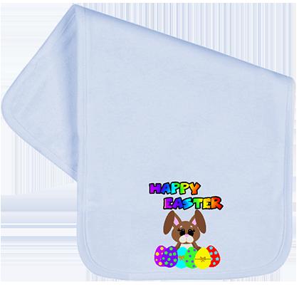 Happy Easter Rainbow Bunny w Eggs Burp Cloth