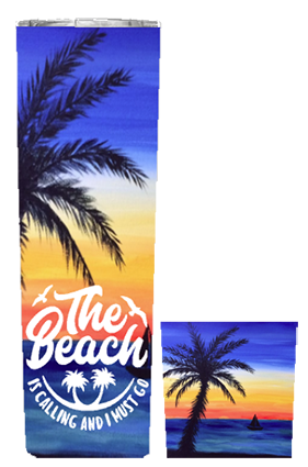 The Beach Is Calling 20 or 30 oz Summer Wrap Tumbler