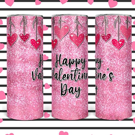 Happy Valentines Day 20 or 30oz Skinny Custom Tumbler