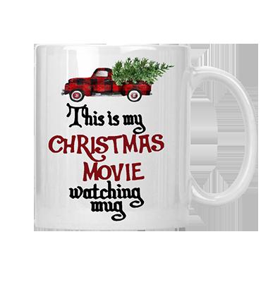 My Christmas Movie Watching Mug red plaid
