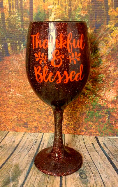 """""""Thankful & Blessed"""" Thanksgiving Wine Glass"""