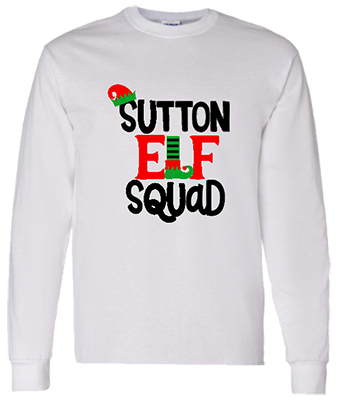 Mens Family Name Elf Squad Longsleeve Tee