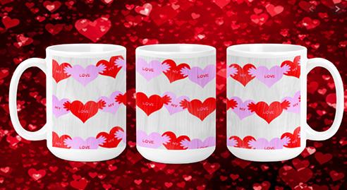 Candy Hearts on White 15oz Valentine Mug