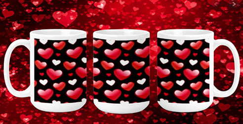 Red White Hearts on Black 15oz Valentine Mug