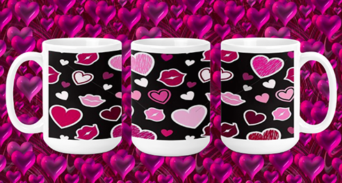 Hearts & Lips on black 15oz Valentine Mug