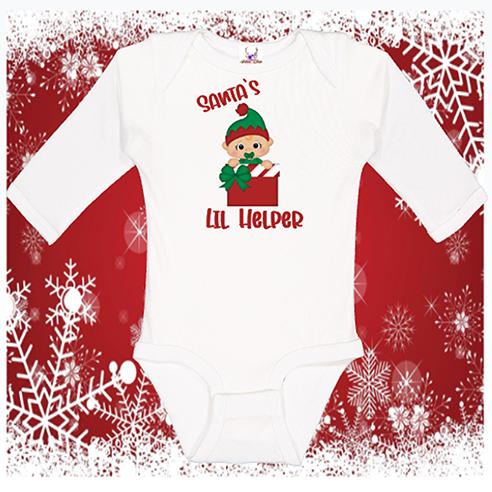 Santa's Lil Helper Longsleeve Onesie or Toddler Tee