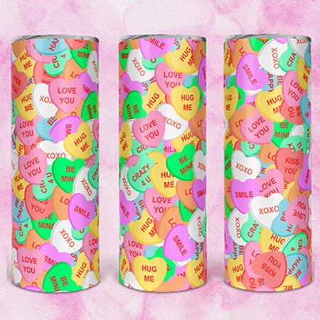Candy Hearts 20 or 30oz Skinny Custom Tumbler